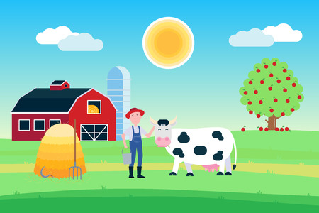 Landscape with black white spotted cow stand with grass close up of a farmer and haystack in front of a red barn flat style vector illustration. Blue sky and sunlight. Poster or wallpaper for milk products