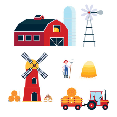 Farming harvecting equipment agriculture set. Red barn, silo, windmill, mill, tractor with semitrailer, hay bale, bags of flour flat style vector illustration isolated on white background.