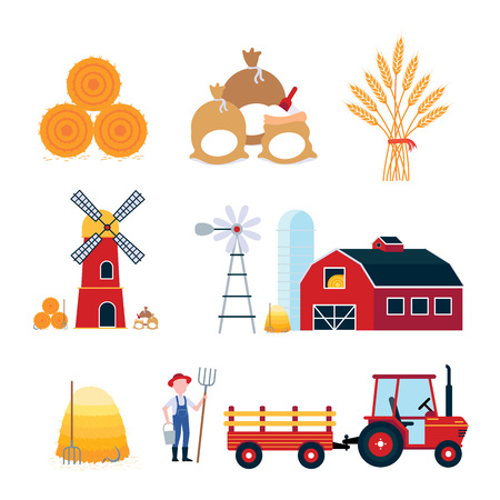 Farming harvecting equipment agriculture set. Red barn, silo, windmill, mill, tractor with semitrailer, hay bale, bags of flour and wheat ears flat style vector illustration isolated on background. Illustration