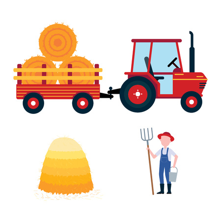 Red harvesting tractor with semi-trailer and hay bale icon sign, haystack, hay sheaf and farmer with hayfork and bucket set isolated on white background