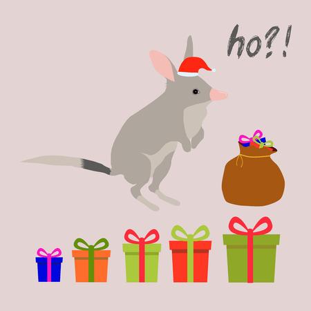 Standing up christmas goods bilby rabbit bandicoot color vector illustration set