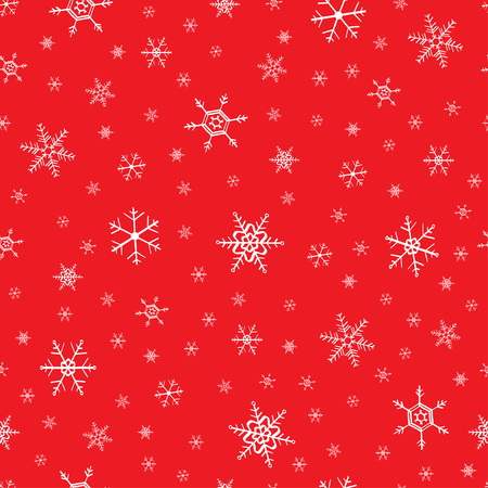 Seamless snowflake red white pattern vector illustration