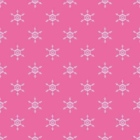 Seamless snowflake pink white pattern vector illustration
