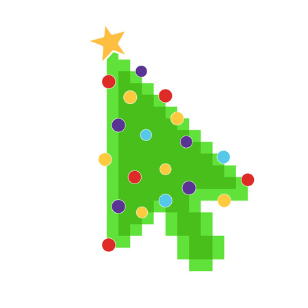 Computer mouse cursor arrow pointer like green christmas tree with balls and star. Merry Christmas and Happy New Year to you! Flat style design vector illustration isolated on white background. Çizim