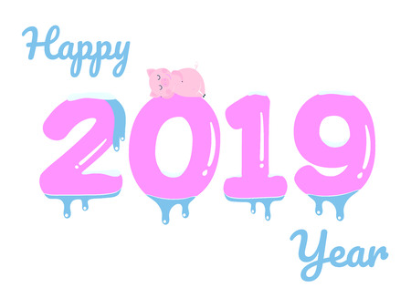 Happy new 2019 year poster with sleeping pig character on the frozen numbers flat style design vector illustration