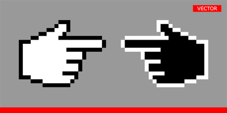 Black and white pointer hand cursors icons  illustration