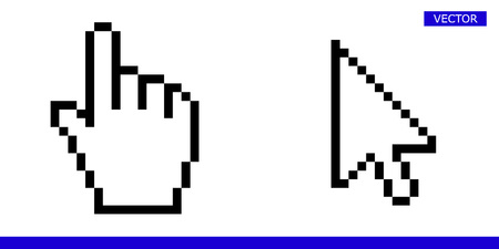 Arrow pixel cursor and pixel mouse hand cursor icon   illustration set