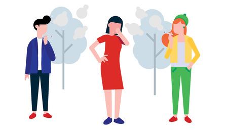 Gruppo di fumatori. Ragazzo e ragazza che fumano sigaretta, donna che tossisce in mano. Isolato su sfondo bianco con alberi