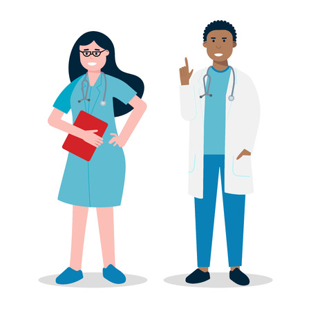 Clipboard flat style vector illustration isolated on white background. Medical center hospital employees.
