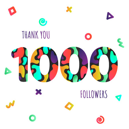 Thank you 1000 followers numbers postcard. Congratulating gradient flat style gradient 1k thanks image vector illustration isolated on white background. Template for internet Illustration