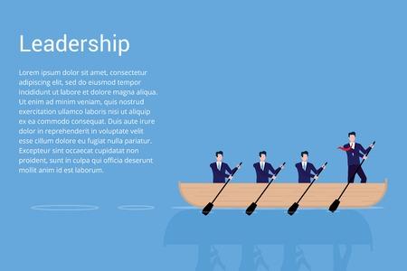 Teamwork flat style design vector illustration isolated on blue background. Businessmen working together, teamwork and leadership concept.