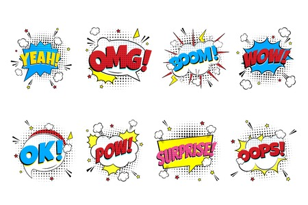 Comic lettering set. YEAH !, OMG !, BOOM !, WOW !, OK !, POW !, SURPRISE !, OOPS! in the speech bubbles comic style flat design. Dynamic pop art illustration isolated on white background. Exclamation concept