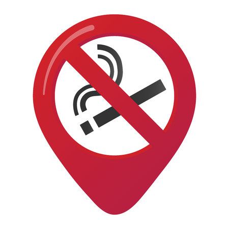 No smoking area marker map of the design of the forbidden red circle. Isolated on white background Illustration