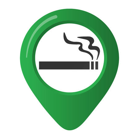 Smoking area marker map of the green circle. Isolated on white background Illustration