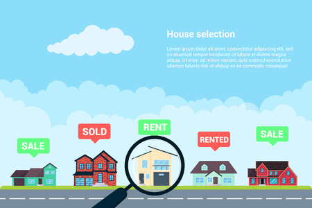 House selection infographic flat style design vector illustration. City infographic with grass, road and houses. Many places to live. Recomendation for selection. Real estate banner concept.