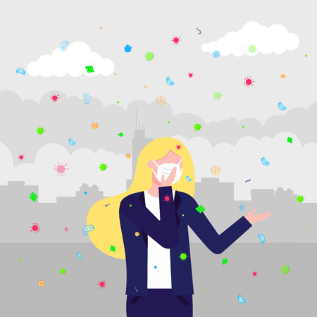Bacterias and viruses in women. Mask as protection against bacterias and viruses concept flat style vector illustration isolated on city background. Zdjęcie Seryjne - 111277832