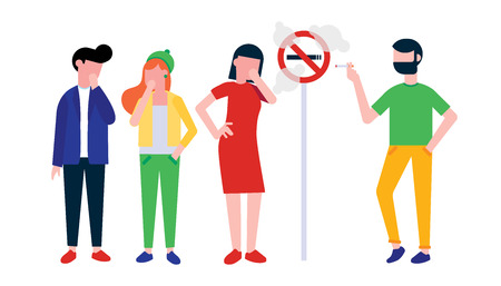 Group of people. Man smokes cigarette near no smoking sign. Girl, woman and boy coughing in their hand. Concept of passive smoking flat style illustration isolated on white background