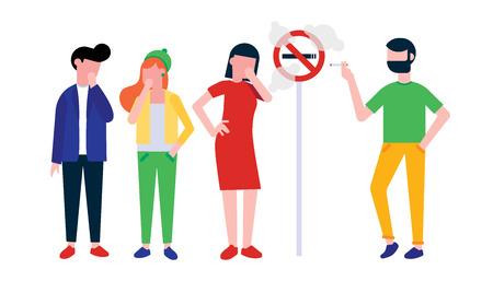 Gruppo di persone. L'uomo fuma la sigaretta vicino al segno per non fumatori. Ragazza, donna e ragazzo che tossiscono in mano. Concetto di illustrazione di stile piatto fumo passivo isolato su sfondo bianco