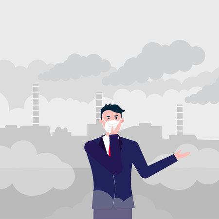 Confused man wearing mask against smog. Fine dust, air pollution, industrial smog protection concept flat style design vector illustration. Industrial plant