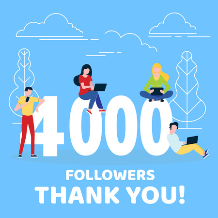 Thank you 4000 followers numbers postcard. People man, woman big numbers flat style design 4k thanks vector illustration isolated on white background. Template for internet and social network