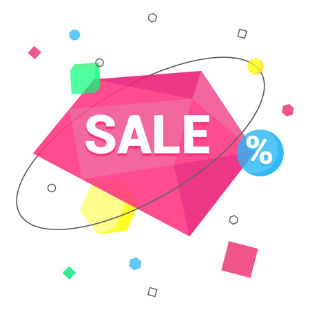Sale geometric banner flat style design vector illustration isolated on white background. Text SALE on geometric pattern with orbits and another simple shapes. Sale banner or sticker for you! Çizim