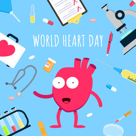 World heart day concept flat style design poster. Surrounded by cartoon equipment and medicines. Medical awareness heart disease day banner.