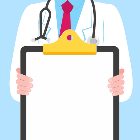 Close-up doctor with a clipboard without text. Clean paper for writing on blue background. Male man, hospital employee with stethoscope.