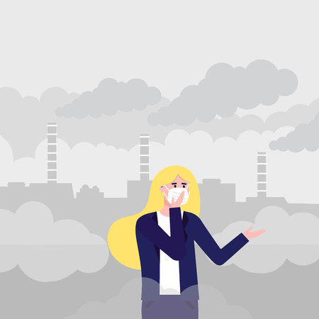Confused woman wearing mask against smog. Fine dust, air pollution, industrial smog protection concept flat style design vector illustration. Industrial plant