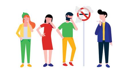 Gruppo di persone. Il ragazzo fuma la sigaretta vicino al segno per non fumatori. Uomo, donna e ragazza che tossiscono in mano. Concetto di illustrazione di stile piatto fumo passivo isolato su sfondo bianco