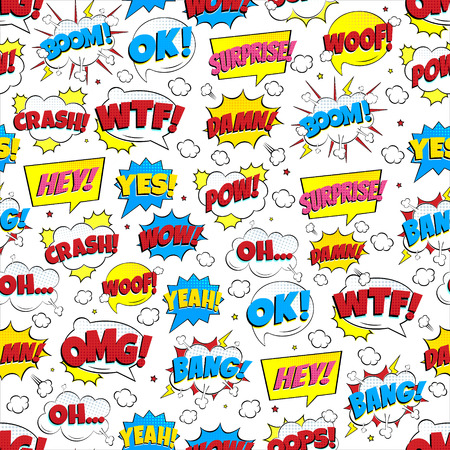 Colorful comic speech bubbles: OMG !, POW !, BANG !, OOPS !, WOW !, SURPRISE !, BOOM! etc. Flat style design vector illustration isolated on white background. Chaotic version.