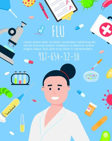 Vaccination banner flat style design poster. Female medicine doctor and medicines. Medical awareness flu aid banner concept vector illustration.