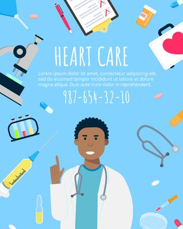 Cardiology heart banner banner flat style design poster. Male man doctor medical employee arounded with hospital equipment and medicines. Medical awareness heart disease day banner. Illustration