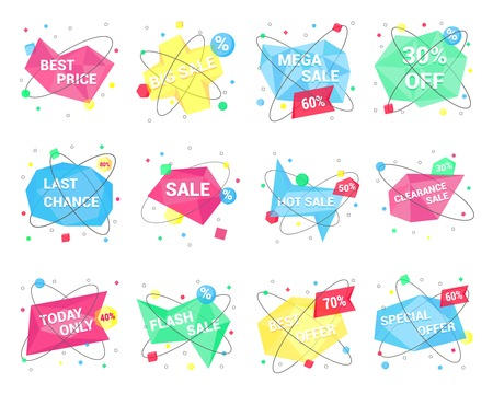 12 Sale geometric banner flat style design vector illustration set isolated on white background. Sale shape with geometric shapes and another simple shapes. Sale banners or stickers