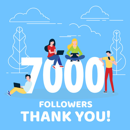 Thank you 7000 followers numbers postcard. People man, woman big numbers flat style design 7k thanks vector illustration isolated on white background. Template for internet and social network Illusztráció