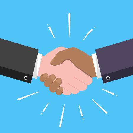 Businessmen shaking hands flat style design vector illustration with abstract rays. Success deal, partnership, greeting, handshaking Ilustración de vector