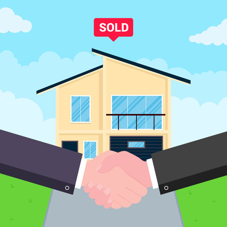 Buying new house on sale. Two hands shaking, big deal agreement flat style vector illustration. New house or landowner. Good partnership and succesful deal concept. Vector Illustratie