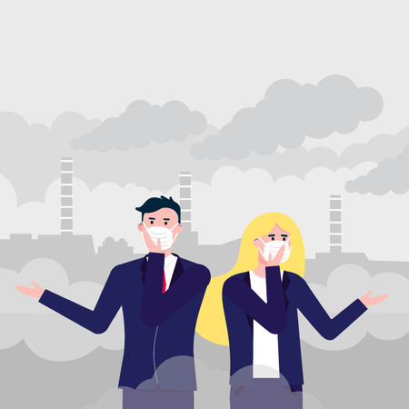 Confused man, woman in masks against smog. Fine dust, air pollution, industrial smog protection concept flat style design vector illustration. Industrial plant