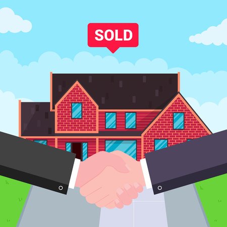 Buying new house on sale. Two hands shaking, big deal agreement flat style vector illustration. New house or landowner. Good partnership and succesful deal concept.