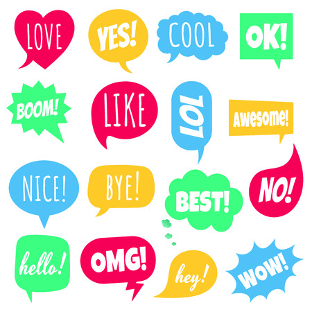 16 Speech bubbles flat style design set with shapes; love, yes, like, lol, cool, wow, boom, yes, omg ... hand drawn comic cartoon style Illustration