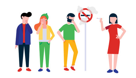 Group of people. Woman smokes cigarette near no smoking sign. Man, boy and girl coughing in their hand. Concept of passive smoking flat style illustration isolated on white background