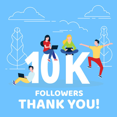Thank you 10,000 followers numbers postcard. People man, woman big numbers flat style design 10k