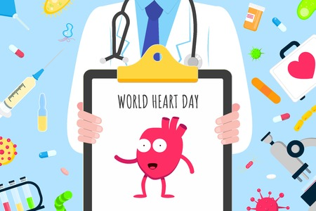 World heart day concept flat style design poster. Male man doctor hospital hospital equities and medicines. Medical awareness heart disease day banner. Illustration