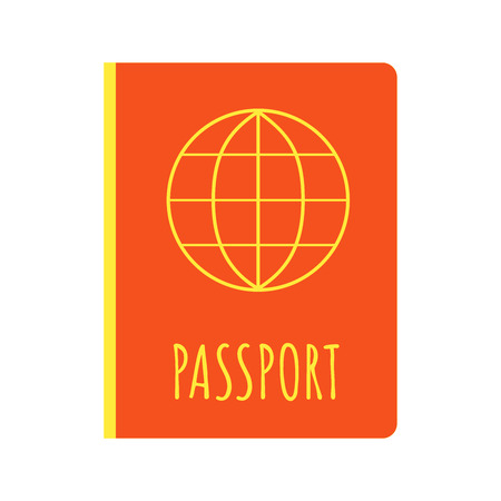 Passport ID document icon flat style vector illustration isolated on white background. Coaching for travel.