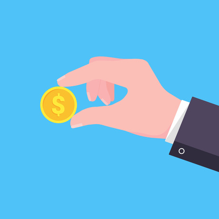 Hand holding hands flat style design vector illustration. Donate dollar currency or more. Symbol of donation isolated on light blue background. 向量圖像