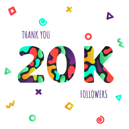 Thank you 20000 followers numbers postcard. Congratulating gradient flat style gradient 20k thanks image vector illustration isolated white background. Template for internet media and social network. Vector Illustration