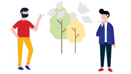 Group of smoking people. Teenager boy and man smoke cigarettes. Concept of smoking and bad habits Ilustração Vetorial