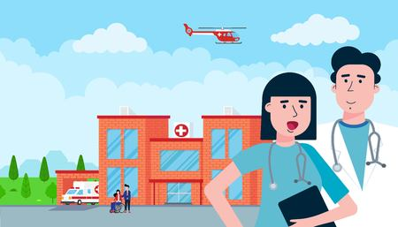 Hospital concept brick building, doctor, nurse, patients, helicopter and ambulance car in flat style. Hospital building, doctors, nurses, woman in wheelchair, ambulance car, helicopter and houses. Vettoriali