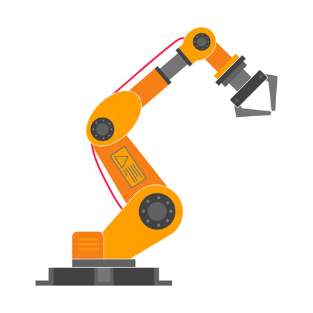Robotic arm flat style design vector icon icon isolated on white background. Robot arm or hand. Industrial robot manipulator. Modern smart industry 4.0 technology. Automated manufacturing
