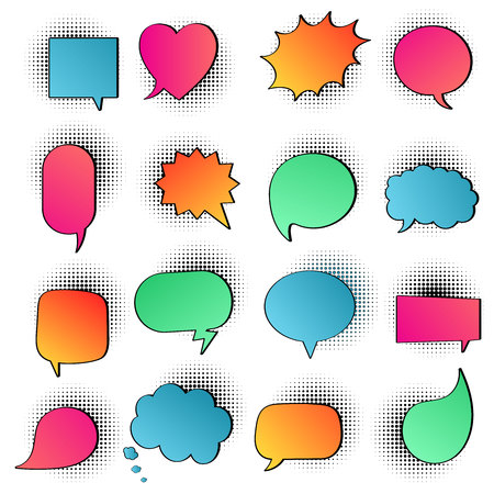 16 Speech bubbles on halftone flat style design. Round, cloud, square, heart, rectangle shapes etc.