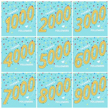 Thank you 1-9k followers numbers postcards set. Congratulating retro flat style design thanks image isolated on white background. Template for internet media and social network.